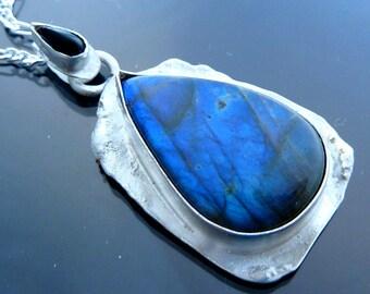 Big Dragon Tears Necklace Pendant Neon Blue Labradorite tear Black Onyx teardrop in sterling silver OOAK jewelry