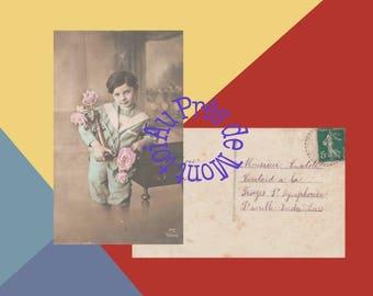 Map postcard French 1914 / download / little boy / France / Collage, Scrapbooking, bullet / JPEG