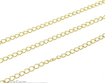 1meter, BC-150DB Gold plated, 3mm Curb Chain, 150DB Chain, Necklace Extender chain