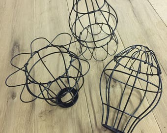 Black Flowering Metal Cage - 3pk Vintage Style Metal Wire Cage Guard for your Industrial Cage Light