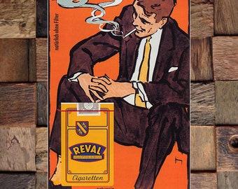 Reval Naturrein Gerd Grim 1963 Vintage Cigarette Ad, Tobacco Ad, Vintage Tobacco Ad, Vintage Art, Giclee Art Print, fine Art Reproduction
