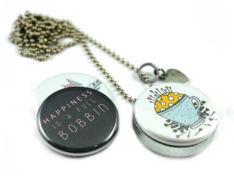 Sewing Gift • Sewing Locket Necklace • Seamstress Gift • Magnetic • 3 Lockets in 1 • Custom Initial • Steel • Happiness is a Full Bobbin