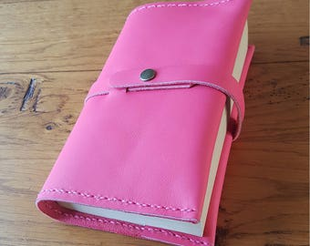 Hot pink leather book cover snap closure