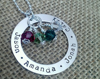 Personalized Mom Necklace with Names, Mother Necklace, Family Necklace, Silver Washer Swarvoski Crystal Birthstones by Stamped Evermore