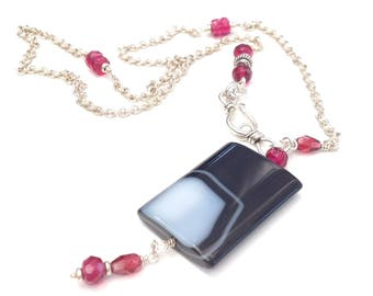 Striped Agate and Raspberry Glass Pendant in Sterling Silver