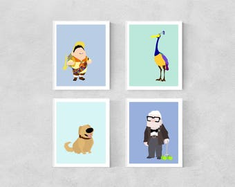 Set of Four - Up Minimalist Posters | Up Minimalist Poster Up Pixar Up Pixar Poster Pixar Up House Dug Russell Kevin Disney Pixar Poster Up