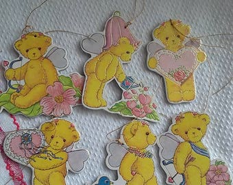 Vintage Die Cut Sweetheart Bears Hanging Decorations Package Tie-Ons Favors Crafts Altered Art New Old Stock Package of Six (6)