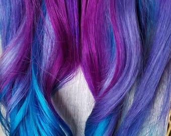 Full set clip in Jewel tones Purple Blue Turquoise