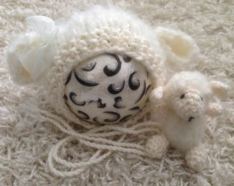Crochet PATTERN - Newborn Size crochet Baaa-rbra Anne lamb/sheep - Instant Download PDF - Photography Prop for newborn