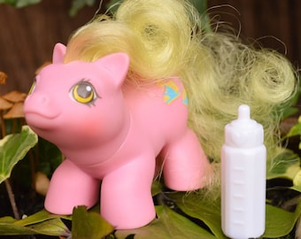 Vintage My Little Pony 'Tappy' Cute! Pink Yellow Newborn Baby Earth with Original White Bottle - G1 - 1987 - Rare - MLP