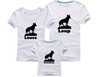 Tshirt - Wolf family trio