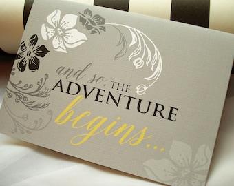 And So The Adventure Begins Wedding Invitation, Floral Wedding Invitation, Flower Wedding Invite, Pocket Fold Wedding Invite Set, Sample