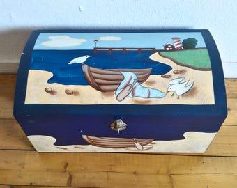 Vintage Art Box,Hand-painted box,Treasure box,Wooden box,Cottage Chic Decor,Sea landscape,Large Art Storage Box,Handmade box