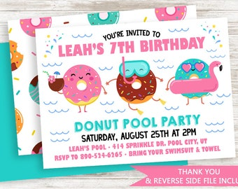 Donuts Pool Party Invitation Invite Digital 7x5 Kids Pink Girls Birthday Doughnuts Splash Bash