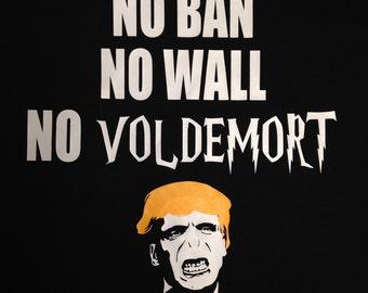 PLUS SIZE 4X 5X No Ban No Wall No Voldemort T Shirt Anti Trump shirt Womens March T shirt Voldemort President Harry Potter