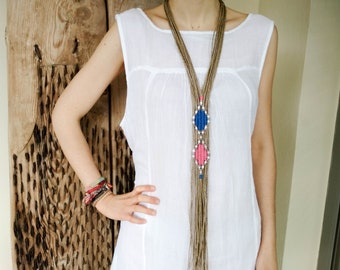 Extra long ethnic fringe necklace, silver beaded tribal woven jewelry, hemp tapestry nomad statement neckpiece, 40th birthday gift for women