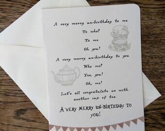 Alice in Wonderland birthday card, Merry un-birthday song card