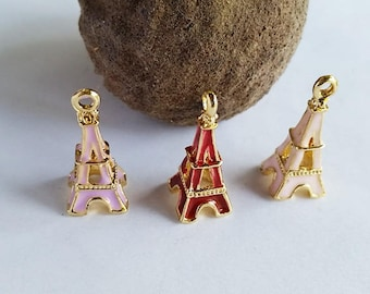 Enamel Gold Plated Eiffel Tower Charms Assorted Colors Jewelry Findings EGPETC22MM-1ACWD1