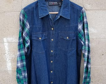 90s Post Grunge Flannel Rocker. Vintage Denim Shirt by Goodies and Co.