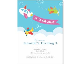 Printed Invitations - Airplane