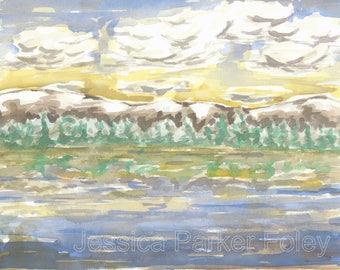 Watercolor Giclée Print - Colorful Mountain Landscape Painting