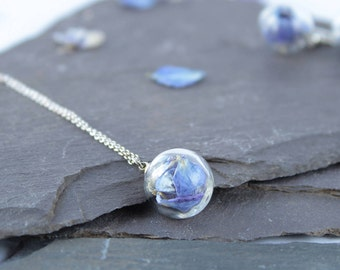 Mini Light Blue Flower petal Necklace with silver chain