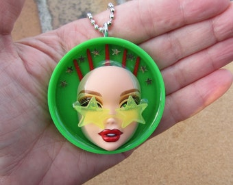 Upcycled Barbie doll bottle cap pendant - Seeing Stars