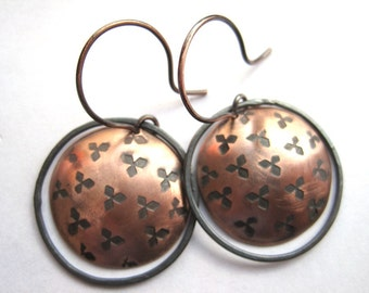 Hammered Oxidized Copper Earrings, Copper Discs and Oxidized Silver Hoops, Cooper Anniversary Gift, Mixed Metal Earrings