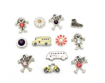12 back to school floating charms for memory locket, 5mm to 7mm BIG SALE! #MINCH 182