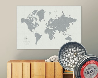 Vintage Push Pin Map (Cloud) Push Pin World Map Pin Board World Travel Map on Canvas Push Pin Travel Map Personalized Gift for Family