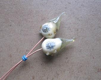 Lampwork Headpins - Glass Headpins - Barnacle Glass Headpins - Copper wire - Glass Headpins Pair - SueBeads - Headpins