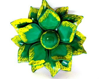 Enamel Flower Brooch, Dark Green with Painted Yellow Tips, Daisy Pin, Retro Brooch, 1970's, Large Pin, Costume Jewelry, DIY Bridal Bouquet