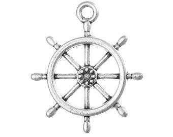 50 Silver Metal SHIP WHEEL Charm Pendants chs0477b