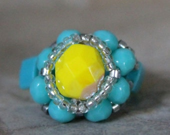 Czech Fire Polished Woven Ring in Yellow and Turquoise