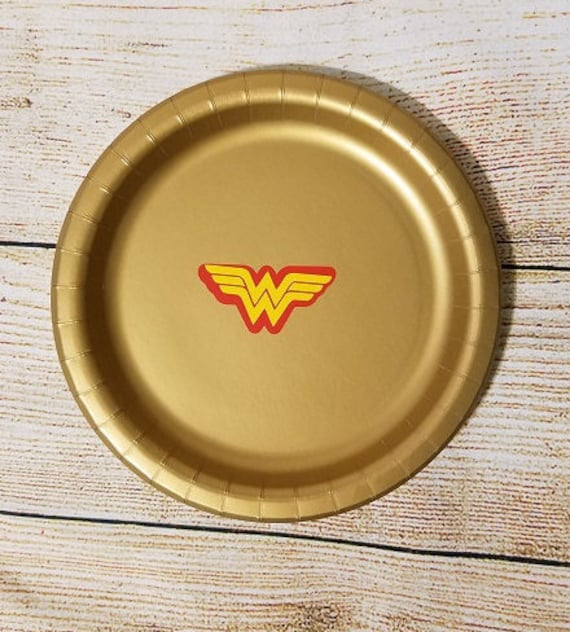 Gold Wonder Woman Inspired Paper Dinner Party Plates Super