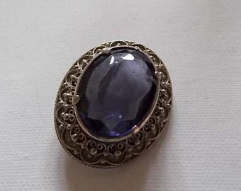 Vintage Amethyst Silver Brooch Pin NUMBERED-SALE