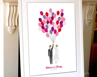Printable Custom Wedding Guest Book balloons Signatures, Unique Guestbook Alternative,Bride and Groom Design Print poster,Bridal Shower Gift