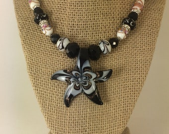 LAMPWORK GLASS PENDENT Star Necklace, Murano Glass Bead Necklace, Pendent Necklace