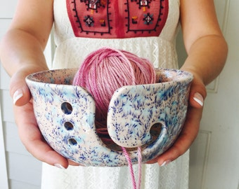 Pink Yarn Bowl | Handmade Ceramic | Yarn Bowl | Knitting Accessory | Gift for Crocheters | Handmade in my Charleston, SC Studio