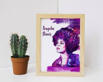 angela davis print, angela davis illustration, feminism a4