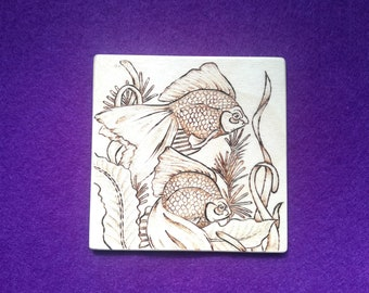Goldfish pyrography animal art coaster
