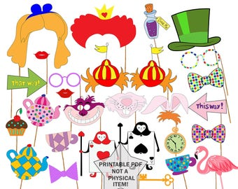 "Alice in Wonderland Photo Booth Prop: ""ALICE PHOTO PROPS"" Party Photo booth  Party Printable Tea Party Props Mad Hatters photo booth diy"