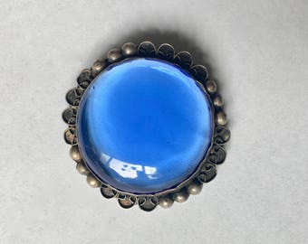 vintage sterling and glass brooch, Mexican