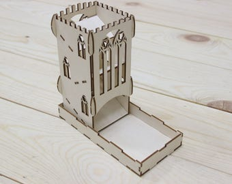 Portable dice tower for board games, Castle