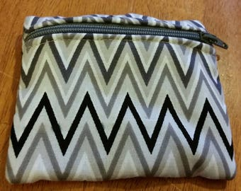 Coin Purse / Black and Gray Print