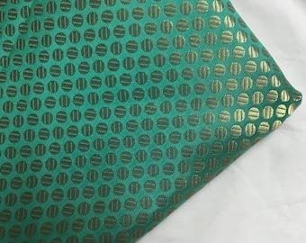 10% OFF One yard of Indian brocade fabric with polka dots in cyan green /Costume fabric,doll clothes fabric/dress fabric/Banarasi brocade