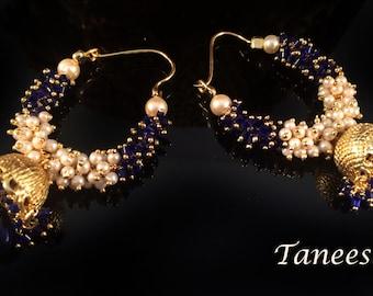 Bridal Pearl Earrings,Gold & White Pearl Chand Bali,gold Jhumkas,Blue Jhumka chand bali ,cluster pearl earrings by TANEESI