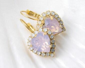 Swarovski Opal Heart Earrings. Rose Water Opal Earrings. Bridesmaid Gift. Simple Modern Jewelry by Smallbluethings
