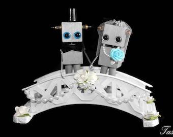 Robot Wedding Cake Topper, Centerpiece, Wedding Gift, Steampunk Decoration