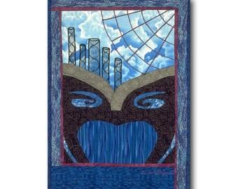 Abstrait Art mûr rêve surréaliste nuages Web de couette bleu noir unique en son genre